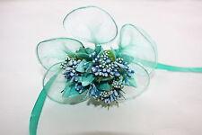 Flor TURQUESA Y Mini Berry Spray pétalos de flores de boda de organza con Cable 9cm