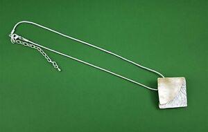 Stunning Matt Gold & Silver Textured Square Contemporary Pendant Necklace