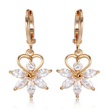 Womens Crystal Yellow Gold Filled Maple Leaf Drop Earrings Jewelry lot