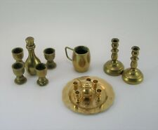 Lot of 15 Miniature Brass Candlestcik - cups - Tray - Tea pot