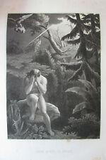 GRAVURE de GOULU PARADIS PERDU  XIX éme  ADAM APRES LE PECHé   ENFER DIEUX EDEN
