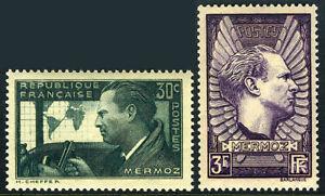 France 325-326, MNH. Jean Mermoz, Aviator. Memorial to Mermoz, 1937