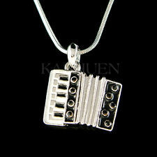 w Swarovski Crystal Black Bass Piano Accordion Squeezebox Music Musical Necklace