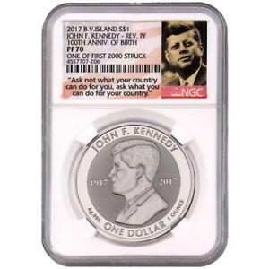 2017 British Virgin Islands $1 JFK Kennedy 100 Birthday NGC Rev PF70 1 of 2000