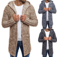 Men Hooded Solid Knit Trench Coat Jacket Cardigan Long Sleeve Outwear Blouse US