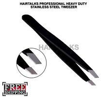 HAIRTALKS BARBER SALON PLUCKER PULLER SLANT TIP STAINLESS STEEL BLACK TWEEZER