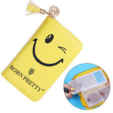 24Slots Nail Art Stamping Plate Holder Case Smiling Face Template Organizer Tool