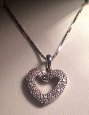 "NIB Real 14KT White Gold Diamond Heart Pendant W/18"" White Gold Box Chain"