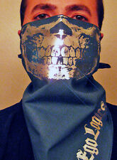 CHROME SILVER SKULL BANDANA FACE MASK GREY SMOKE BIKER CHOLO CALAVERA SKI SNOW