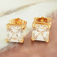 8mm Real yellow Gold Filled Square Mans Crystal Stud Earrings boys mens jewelry