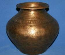 Antique Hand Made Engraved Bronze Hindu Holy Water Pot Lota