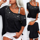 Women Sequin Cold One Shoulder Top T Shirt Ladies Casual Loose Tee Blouse