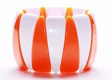 TANGERINE & WHITE TRIANGULAR PLASTIC BEAD STRETCHY COLOUR POP BRACELET (ZX42)