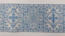 "Vintage Christian Cross Design Sky Blue Gold Lame 6"" Band for Vestment 6 Yrds."