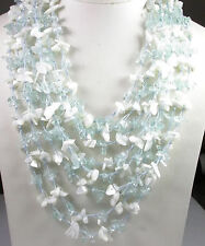 Statement 8 Strand Aquamarine & Mother of Pearl Necklace Mother of Bride