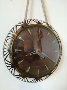 Vintage FOREIGN West German Deco Style Battery Wall Hung Clock