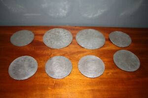 Rare set over sized antique silvered placemats Georgian plate coasters engraved