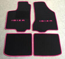 Autoteppiche Fußmatten für Seat Ibiza 6K 1993-2002 schwarz/pink 4teilig Neuware