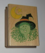 Witch Rubber Stamp Moon Star Pointy Hat Halloween Wood Mounted
