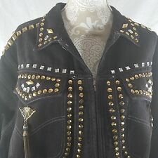 Freego Black Vintage Oversized Denim Jean Jacket Studded Bling Size M Rock Glam