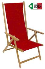 Sedia sdraio pieghevole prendisole in legno di faggio chiaro naturale in tela R