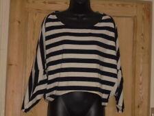AX Paris Black White Stripe Batwing Button Back Top - Size 10