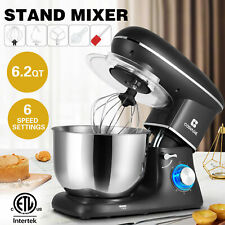 Pro Electric Food Stand Mixer 6.2QT Tilt-Head 6 Speed Stainless Steel Bowl Black