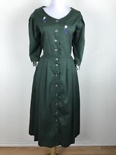 Hammerschmid Dress Size 40 Green Embroidered Floral Modest Button Front L