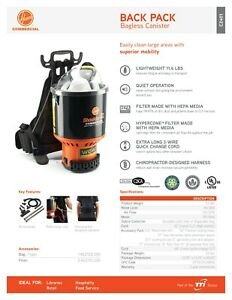 HOOVER C2401 INDUSTRIAL STRENGTH BACKPACK VACUUM CLEANER WITH HEPA FILTRATION