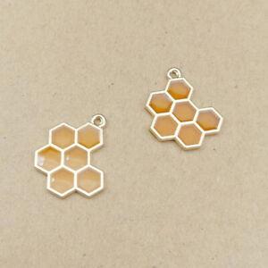 10Pcs Enamel Honeycomb Charm Pendants Fit DIY Necklace Earring Jewelry Findings