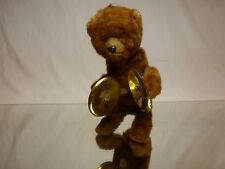 VINTAGE TIN TOY WEST GERMANY HAIRY WIND-UP BEAR + CYMBALS - H15.0cm -  RARE
