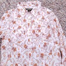 Fossil Blouse Shirt Top Women's Small S White Floral Pearl Snap Button Down