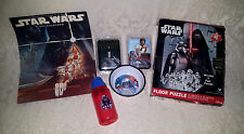 Misc Lot 1997 Star Wars Calendar/Floor Puzzle/Switch Covers/Anakin Bowl/ Vader
