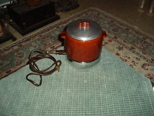 Vintage WEST BEND Brown CERAMIC CROCK POT Electric FOOD WARMER Chafing Dish VG !