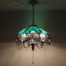 Tiffany Style Green Flower Pendant E27 Light Stained Glass Ceiling Lamp