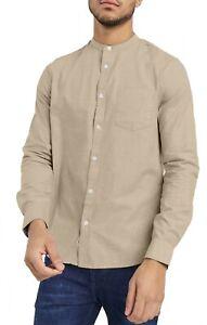 Men's Casual Oxford Shirt Grandad Collar Long Sleeve Shirts Regular Fit RH03
