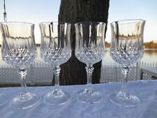 4 Cris d'Arques  Longchamp 6 1/2 inch Wine Glasses