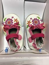 Robeez Crib Shoes 0 6 Months Leather Flexible BRIGHT BLOSSOMS Flowers Soft Soles