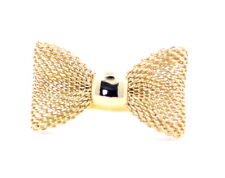 Cute adjustable gold coloured mesh bow ring
