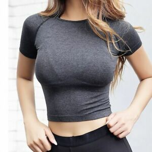 Womens Quick Dry Cropped Seamless Short Sleeve Top Yoga Workout Tops Sports Gym