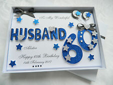 Personalised Handmade Birthday Card Husband, Brother, 30,40,50,60, Gift Box