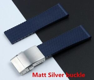 24 mm Blue Silicone Watch Band Strap For Breitling Superocean Matte Buckle HQ