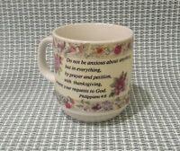 """Philippians 4:6"" Bible Verse Quote Ceramic Coffee Floral Purple Mug Tea Cup"