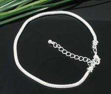 Fit European Charms Beads Gift 18cm Silver Snake Chain Lobster Clasp Bracelets