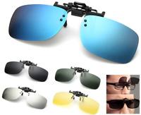 Polarized Clip On Flip Up Driving Sunglasses Day Night Vision Mirror UV400 Lens