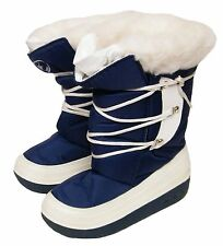 WOMENS BLUE WHITE COSY FAUX FUR LINING SNOW SKI WINTER BOOTS SIZE 3/36
