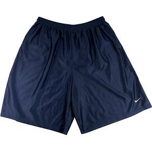 "Nike Athletic Training Shorts Solid Blue Drawstring Polyester Logo Men 3XL 9"""