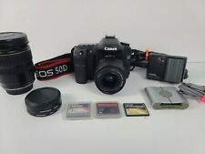 Canon EOS 50D 15.1MP Digital SLR Camera w/ 2 lenses, 2 batteries 3 storage cards