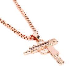 New Copper Tone Supreme UZI Machine Gun Stainless Steel Revolver Necklace Chain