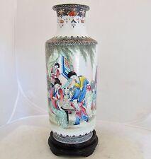 "12.7"" Antique Chinese Famille Rose Thin Porcelain Vase w/ Ladies & Qianlong Mark"